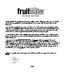 fruitwater fact sheet