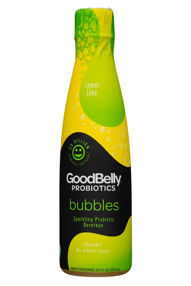 GoodBelly: GoodBelly-13oz-Bubbles-LemonLime-Front