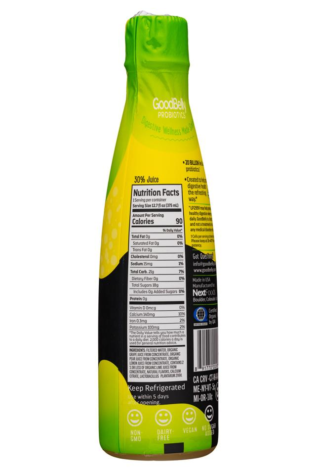 GoodBelly: GoodBelly-13oz-Bubbles-LemonLime-Facts