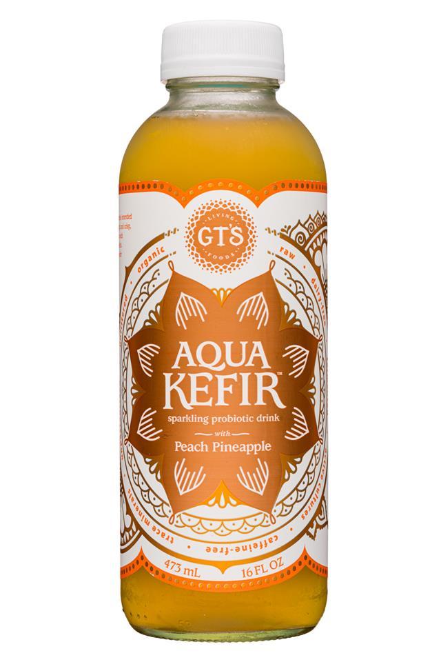 GT's Aqua Kefir: GTs-16oz-AquaKefir2-PeachPine-Front