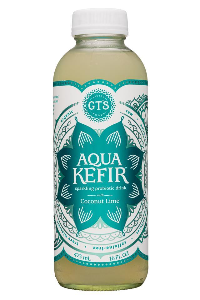 GT's Aqua Kefir: GTs-16oz-AquaKefir2-CoconutLime-Front