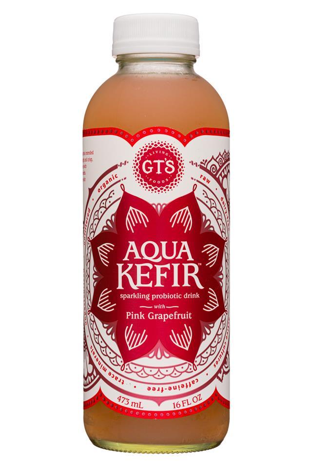 GT's Aqua Kefir: GTs-16oz-AquaKefir19-PinkGrape-Front