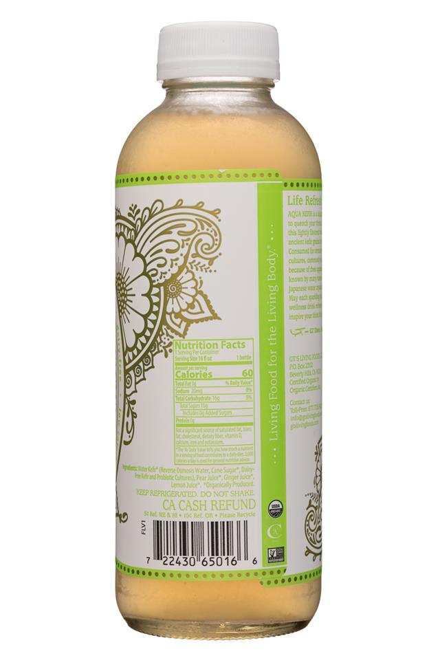 GT's Aqua Kefir: GTs-16oz-AquaKefir-PearGingerLemon-Facts