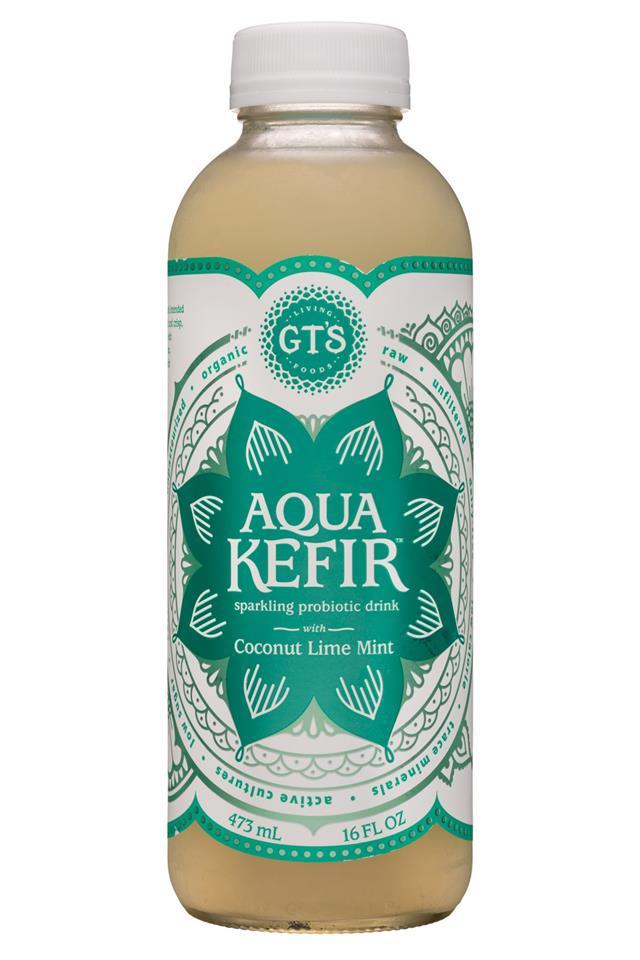 GT's Aqua Kefir: GTs-16oz-AquaKefir-CoconutLimeMint-Front