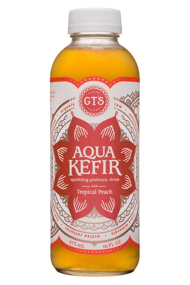 GT's Aqua Kefir: GTs-16oz-AquaKefir-TropicalPeach-Front