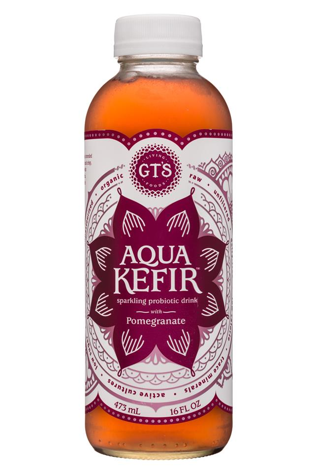GT's Aqua Kefir: GTs-16oz-AquaKefir-Pom-Front