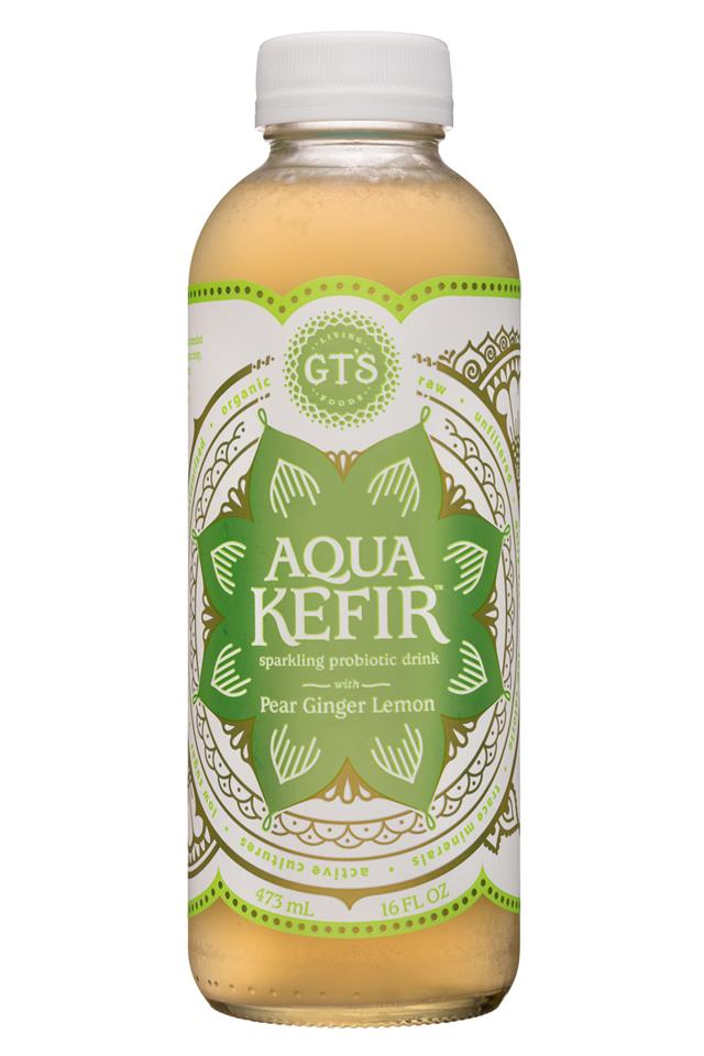 GT's Aqua Kefir: GTs-16oz-AquaKefir-PearGingerLemon-Front