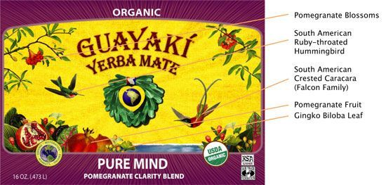 Guayakí Yerba Mate Organic Energy Drink: label legend