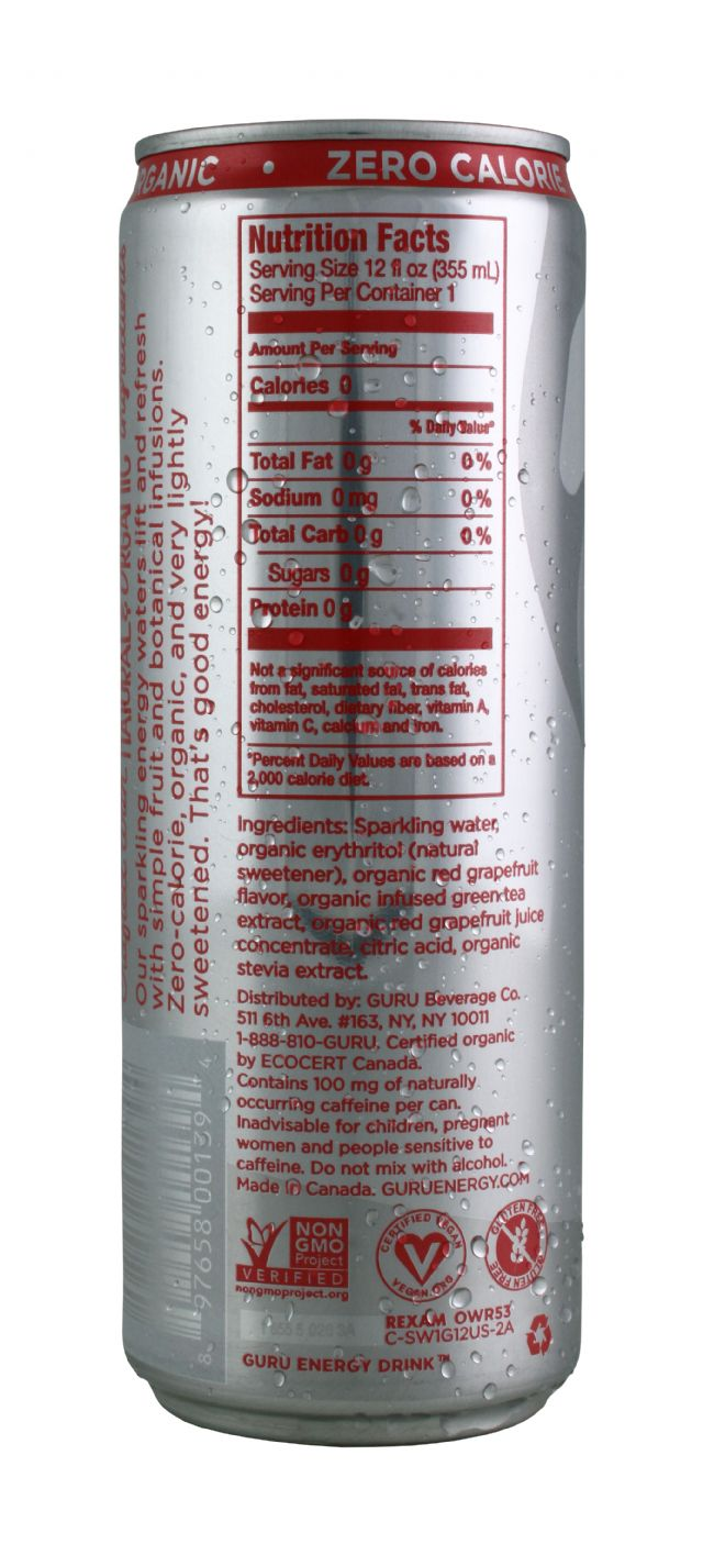 Guru Energy Drink: EnergyWater RedGrape Facts