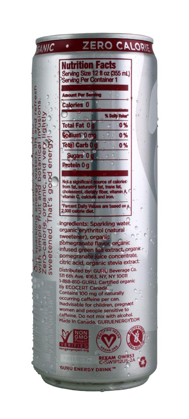 Guru Energy Drink: EnergyWater POM Facts