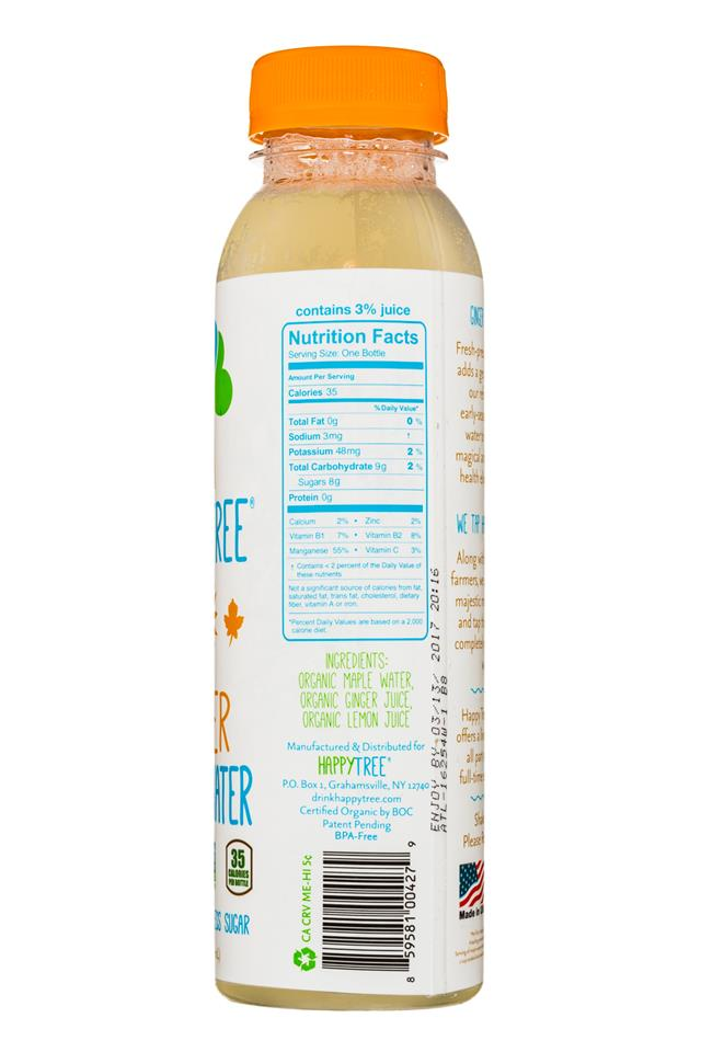 Happy Tree Maple Water: HappyTree-12oz-MapleWater-Ginger-Facts