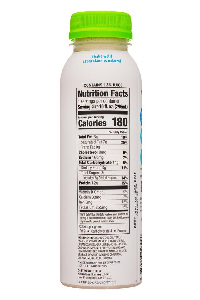 Harmless Harvest - Protein & Coconut: HarmlessHarvest-10oz-ProteinCoconut-VanillaSpice-Facts