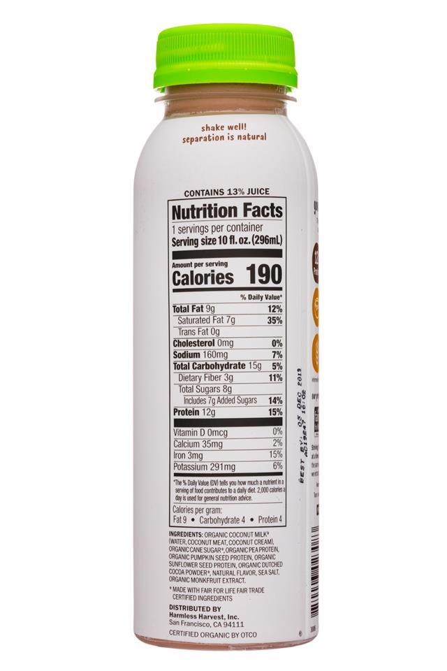 Harmless Harvest - Protein & Coconut: HarmlessHarvest-10oz-ProteinCoconut-Choc-Facts