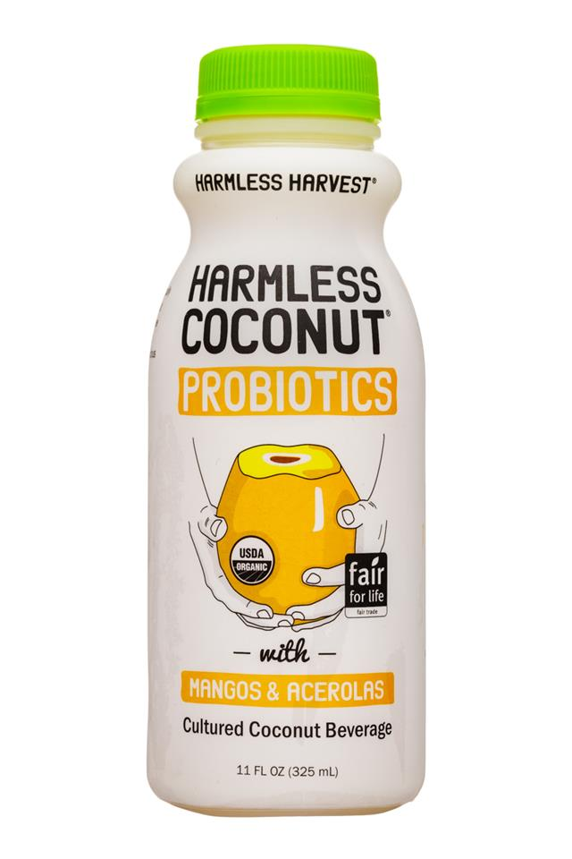 Harmless Harvest Harmless Coconut Probiotics: HarmlessHarvest-11oz-Probiotics-YogurtDrink-MangosAcerolas-Front