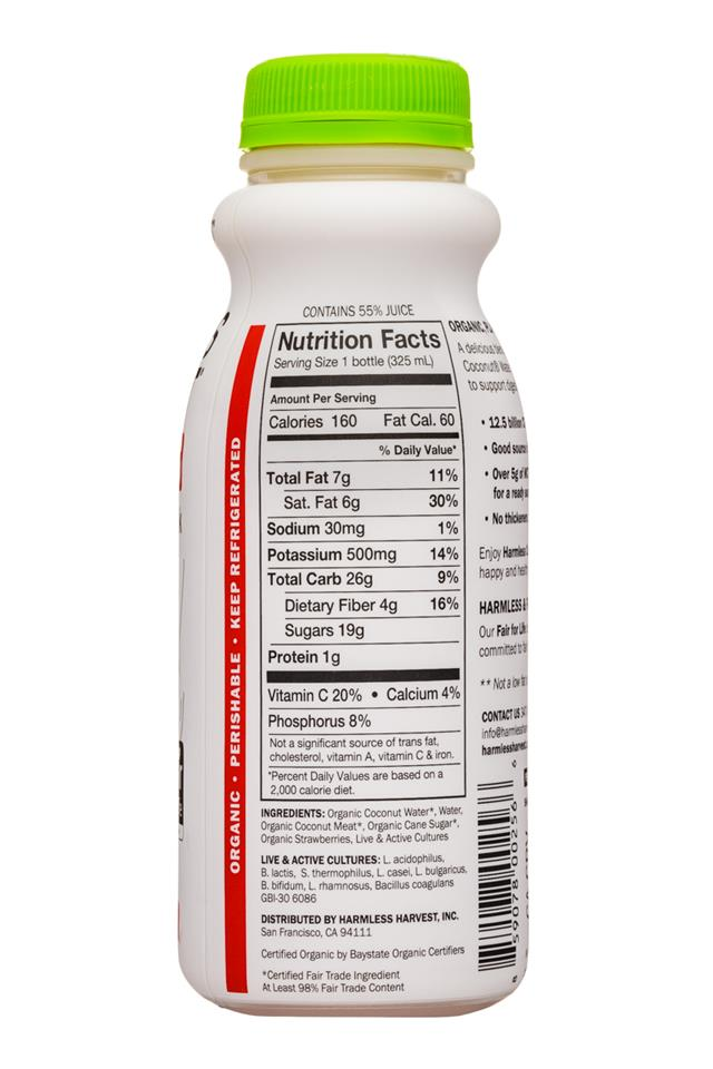 Harmless Harvest Harmless Coconut Probiotics: HarmlessHarvest-11oz-Probiotics-YogurtDrink-Strawberries-Facts
