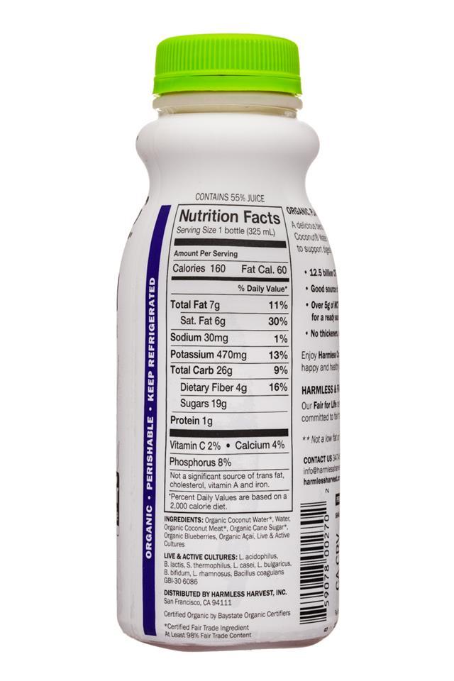 Harmless Harvest Harmless Coconut Probiotics: HarmlessHarvest-11oz-Probiotics-YogurtDrink-BluebAcai-Facts