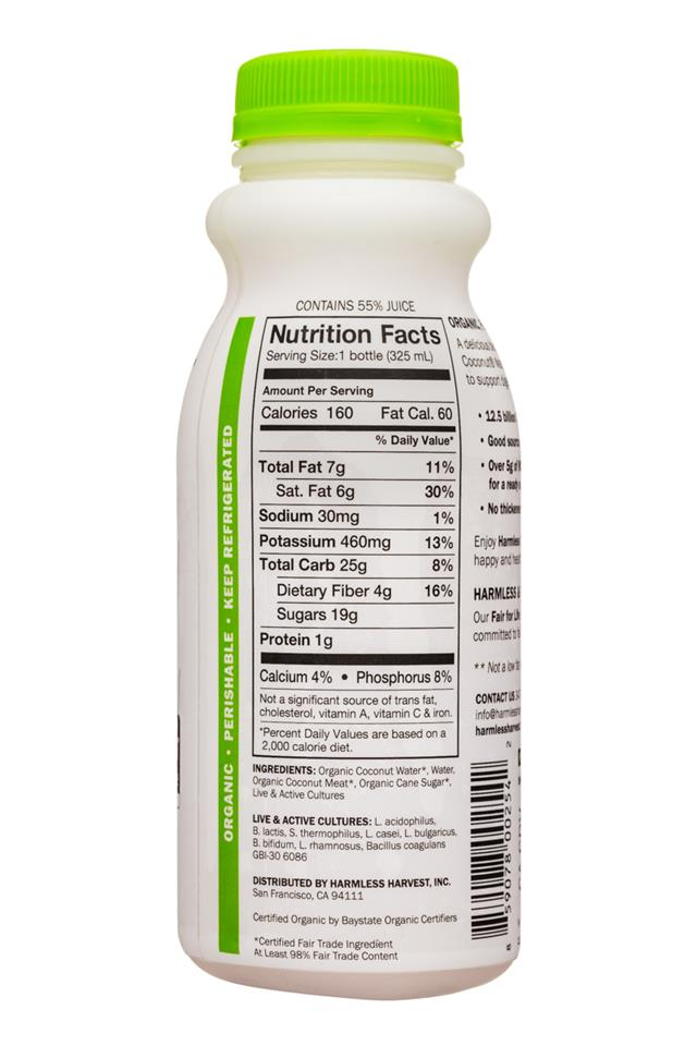 Harmless Harvest Harmless Coconut Probiotics: HarmlessHarvest-11oz-Probiotics-YogurtDrink-Original-Facts
