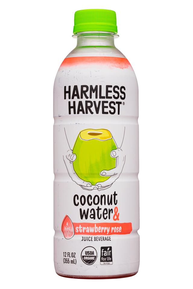 Harmless Harvest: HarmlessHarvest-12oz-2020-CoconutWater-StrawbRose-Front