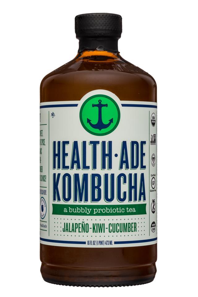 Health-Ade Kombucha: HealthAde-16oz-Kombucha-JalapenoKiwiCuc-Front