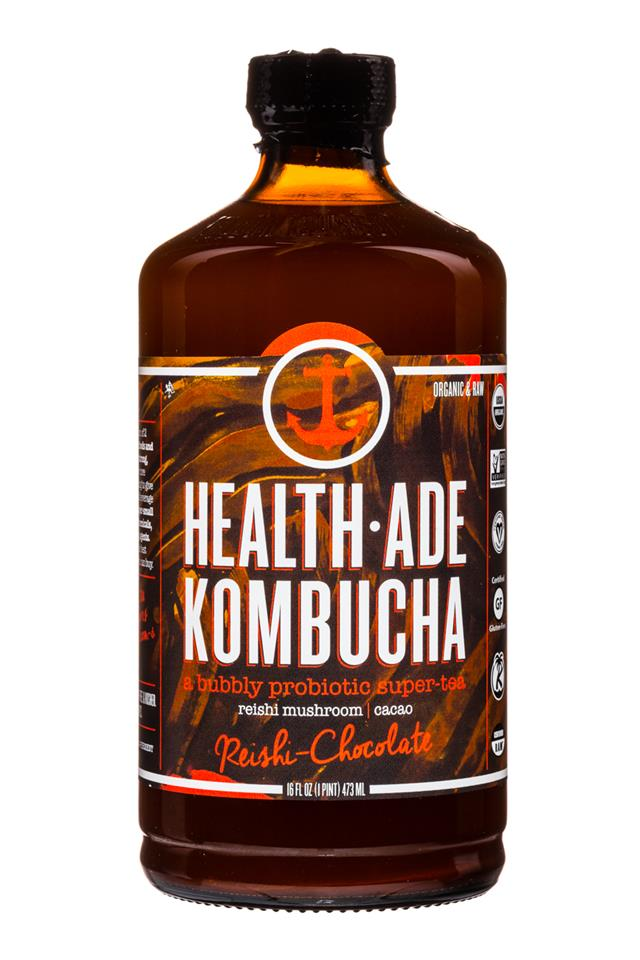 Health-Ade Kombucha: HealthAde-16oz-ReishiChoc-Front