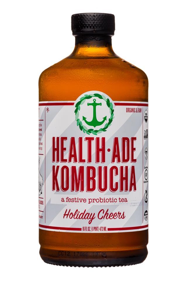 Health-Ade Kombucha: HealthAde-16oz-Kombucha-HolidayCheers-Front