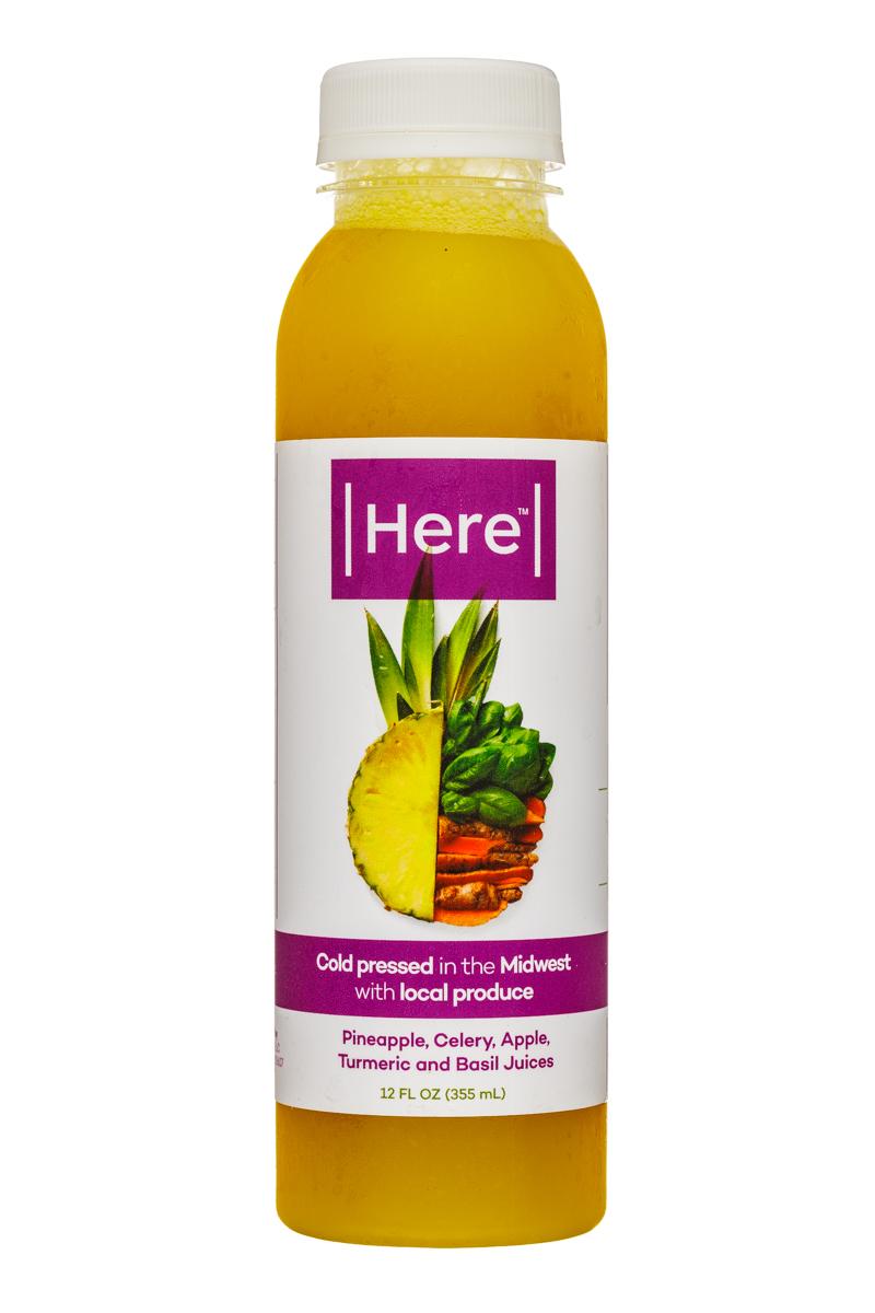Pineapple, Celery, Apple, Turmeric and Basil