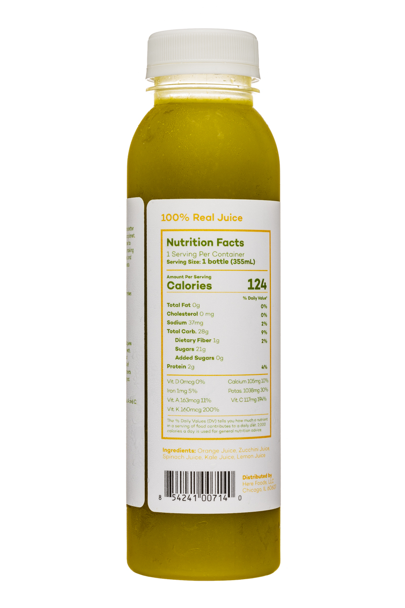 Here Cold-Pressed Juices: Here-12oz-ColdPressed-OrangeZucchiniSpinachKaleLemon-Facts