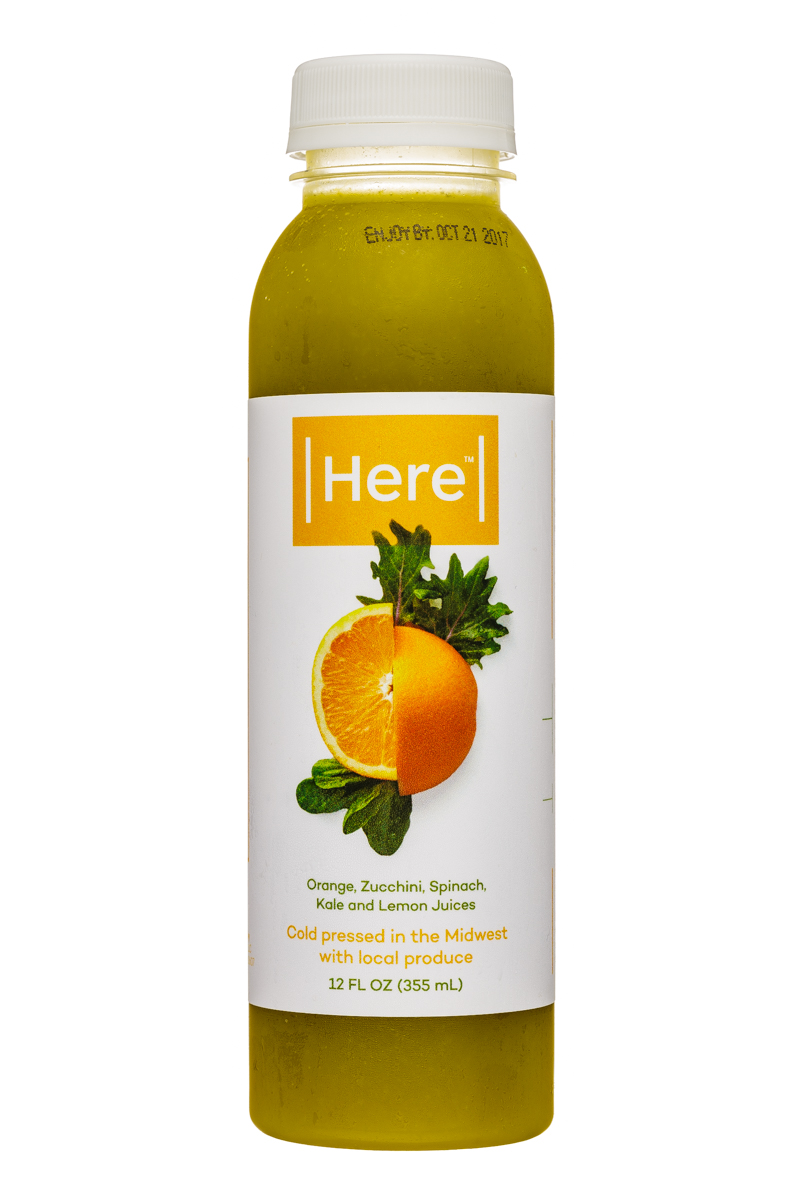 Here Cold-Pressed Juices: Here-12oz-ColdPressed-OrangeZucchiniSpinachKaleLemon-Front