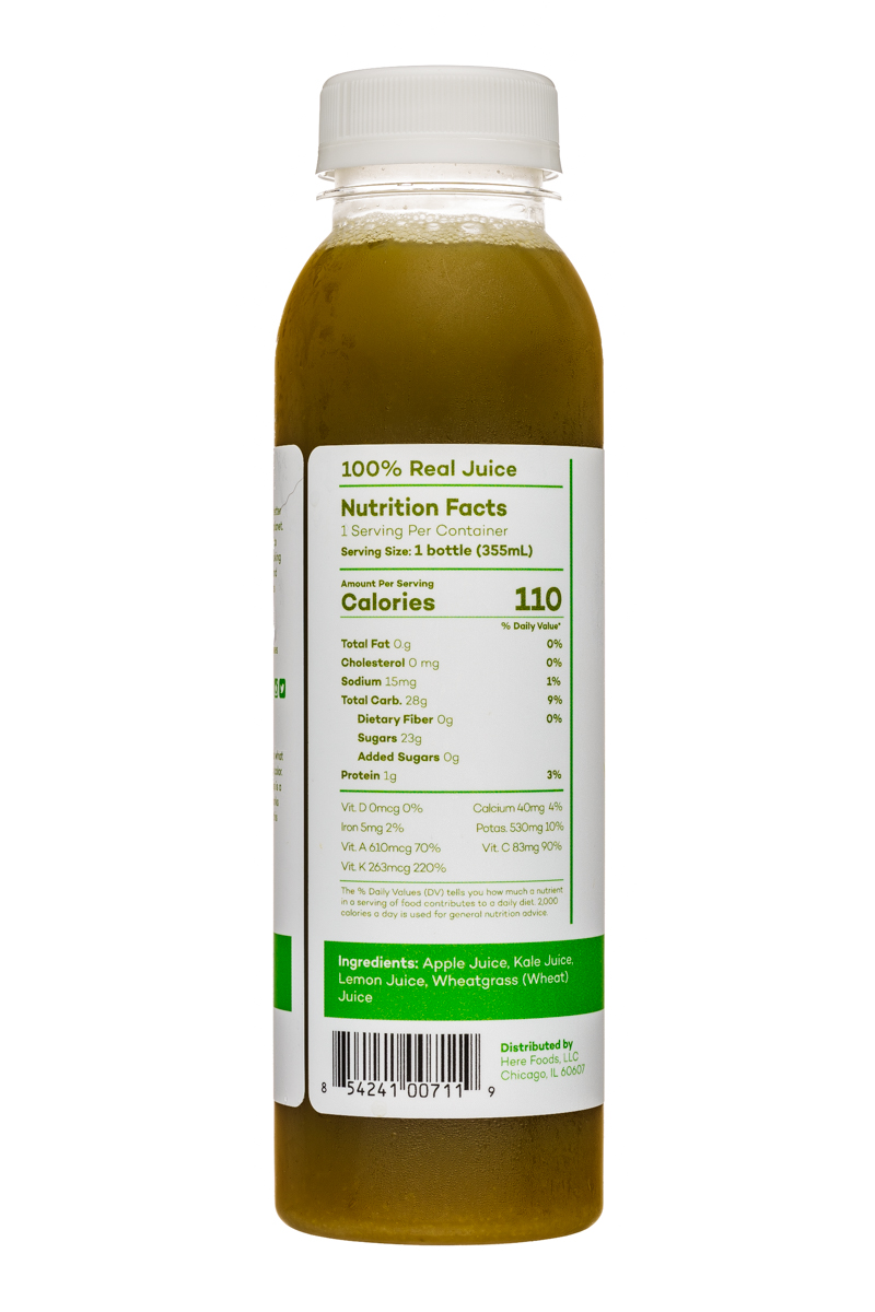 Here Cold-Pressed Juices: Here-12oz-ColdPressed-AppleKaleLemonWheatgrass-Facts