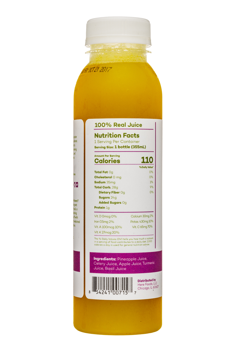 Here Cold-Pressed Juices: Here-12oz-ColdPressed-PineappleCeleryAppleTurmericBasil-Facts