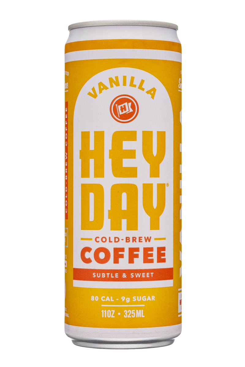 HeyDay Cold Brew Coffee: Heyday-11oz-ColdBrew-Vanilla-Front