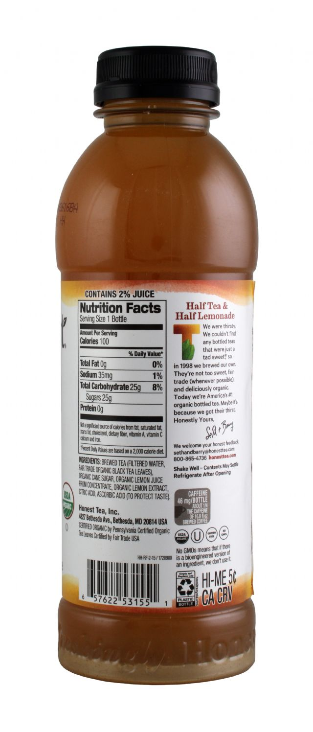 Honest Tea (PET): HonestTea HalfTeaHalfLem Facts