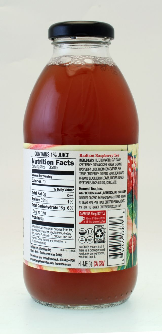 Honest Tea (Glass): Honest RadiantRasp Facts