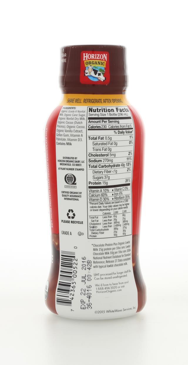 Horizon Organic : Horizion ChocoMilkProtein Back