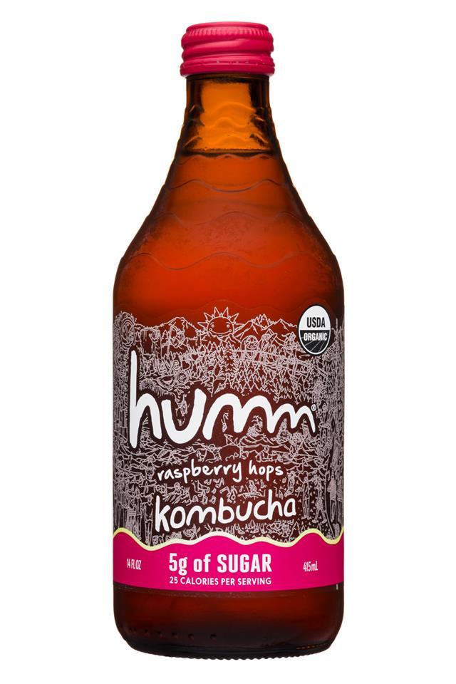humm kombucha: Humm-14oz-Kombucha-5gSugar-RaspHops-Front