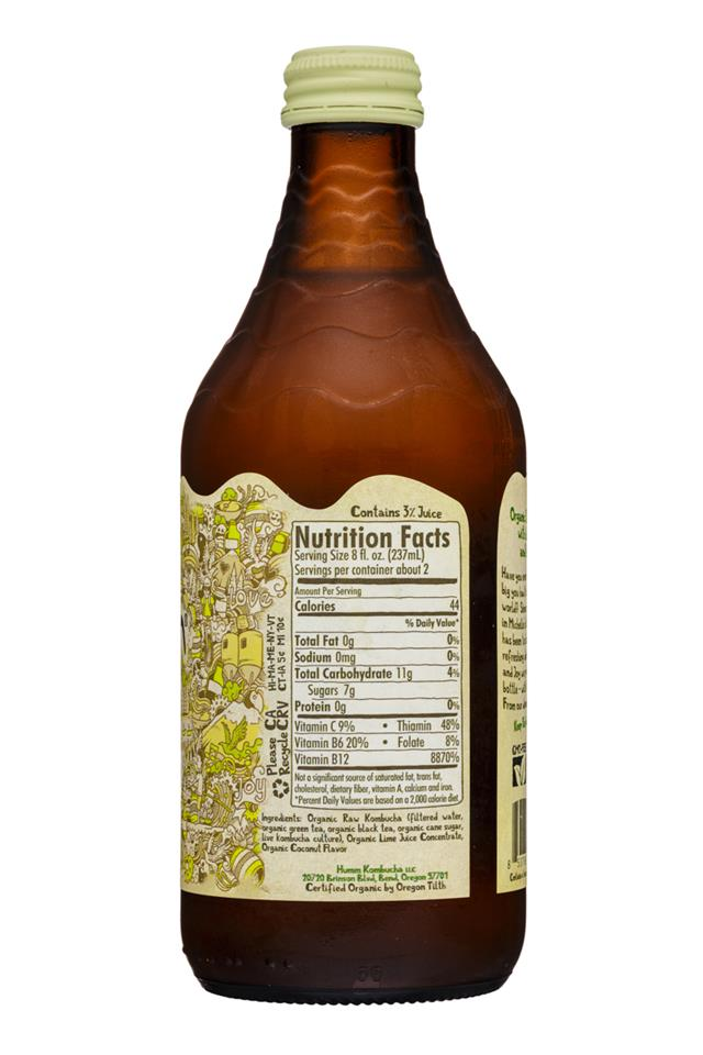 humm kombucha: Humm-14oz-Kombucha-CoconutLime-Facts