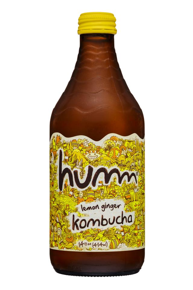 humm kombucha: Humm-14oz-Kombucha-LemonGinger-Front