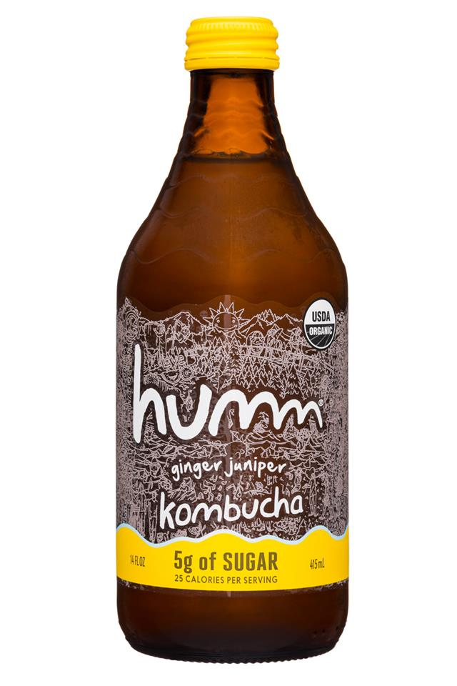 humm kombucha: Humm-14oz-Kombucha-5gSugar-GingerJuniper-Front