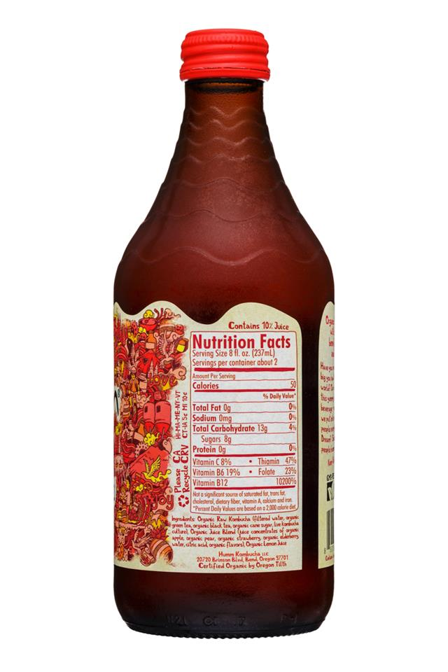 humm kombucha: Humm-14oz-Kombucha-StrawberryLemonade-Facts