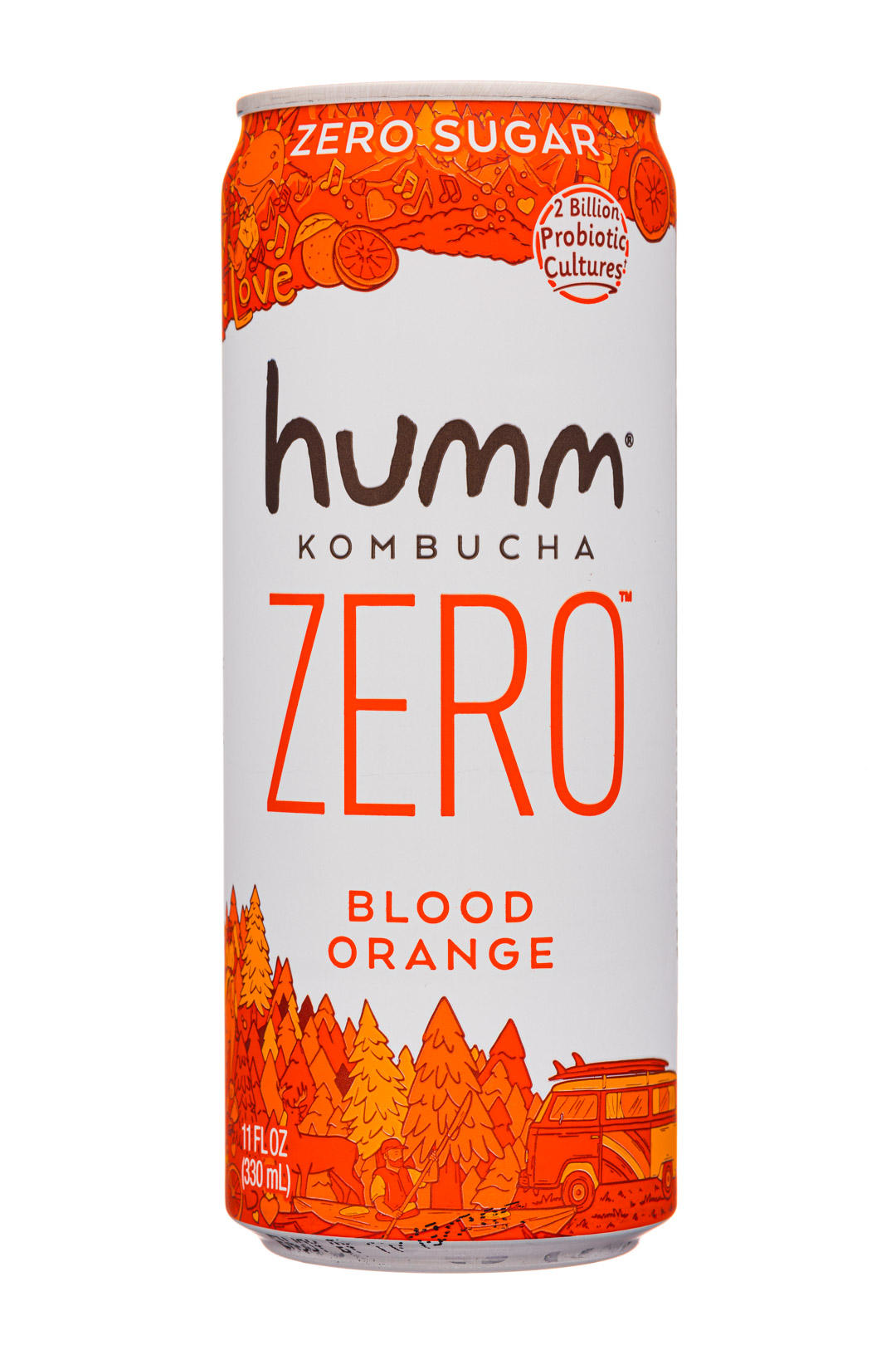 humm kombucha: Humm-11oz-2020-KombuchaZero-BloodOrange-Front