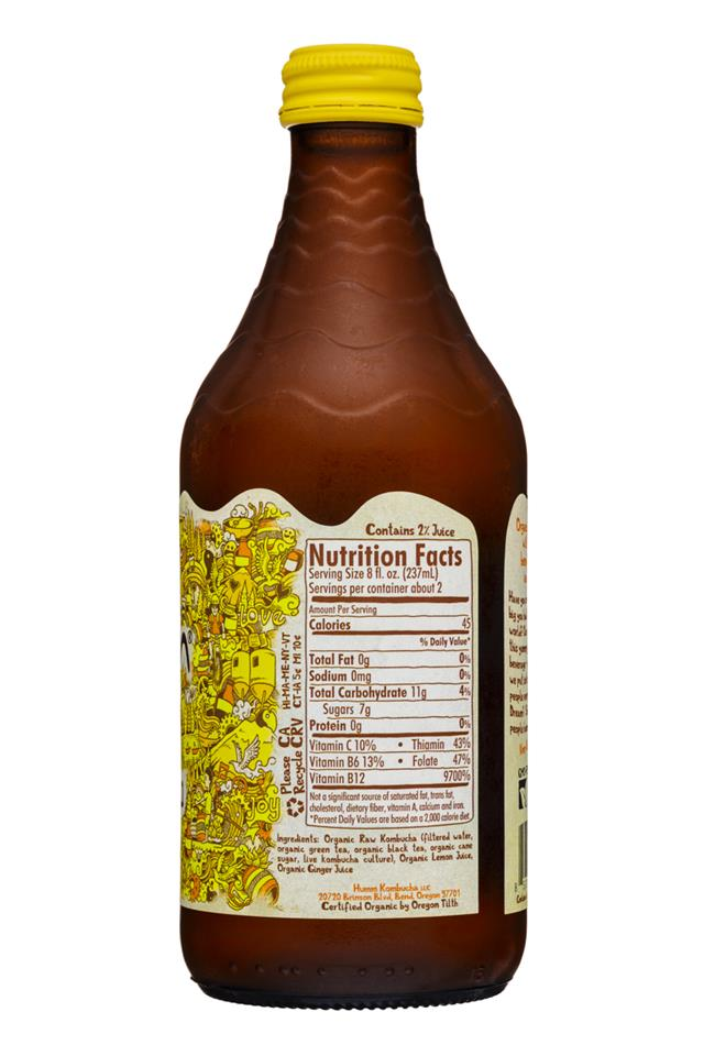 humm kombucha: Humm-14oz-Kombucha-LemonGinger-Facts