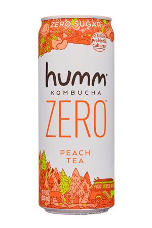 humm kombucha: Humm-11oz-2020-KombuchaZero-PeachTea-Front