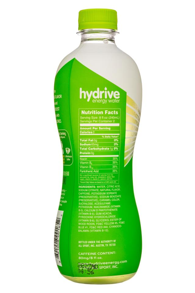 Hydrive Energy Water: Hydrive-16oz-EnergyWater-KiwiMelon-Facts