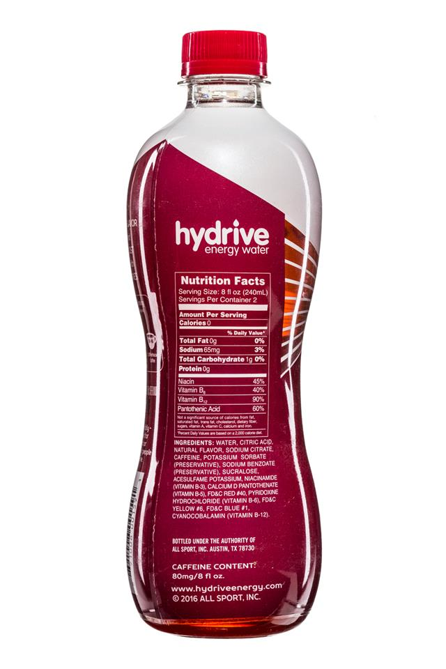 Hydrive Energy Water: Hydrive-EnergyWater-16oz-BlackCherry-Facts