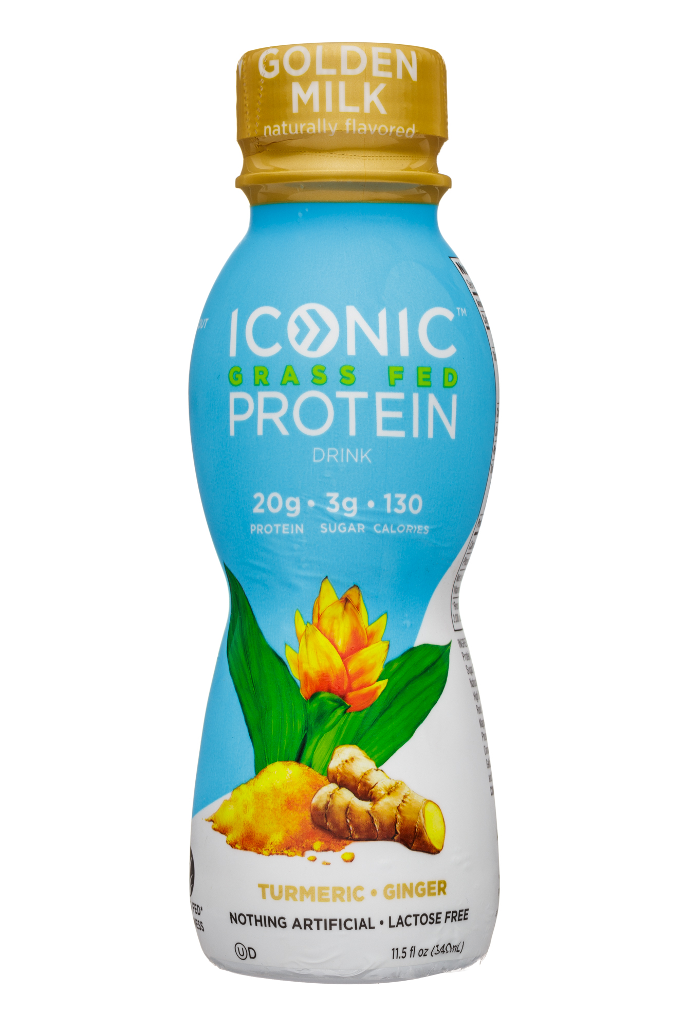 Iconic: Iconic-12oz-GrassFedProtein-TurmericGinger-Front