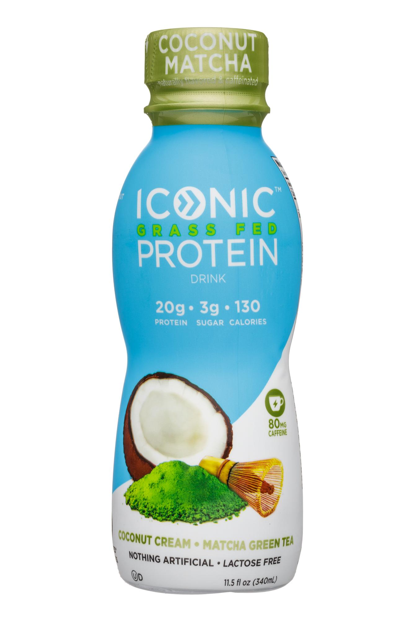 Iconic: Iconic-12oz-GrassFedProtein-CoconutCreamMatchaGreenTea-Front
