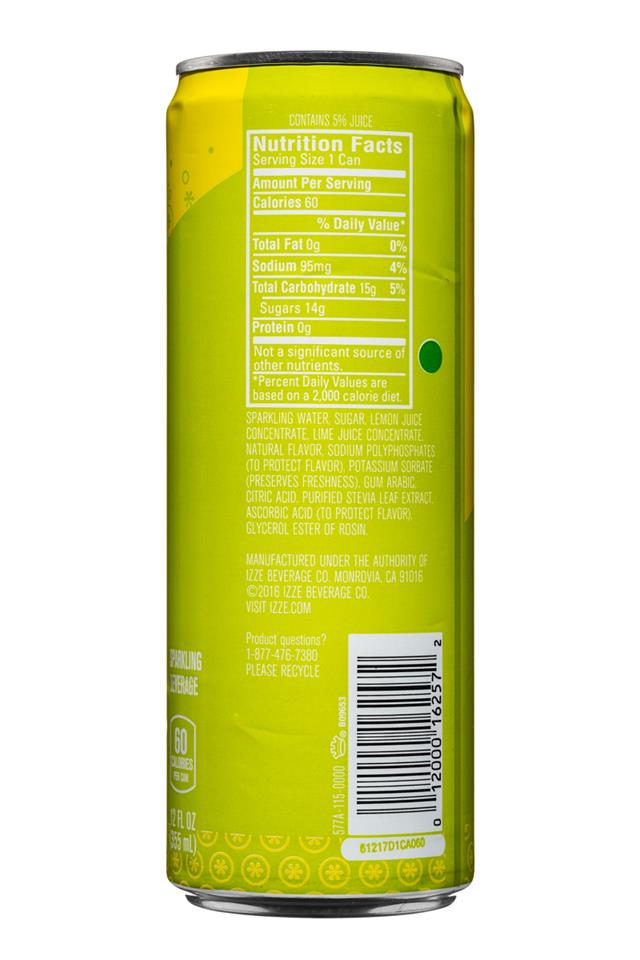 IZZE Fusions: Izze-Fusions-12oz-LemonLime-Facts