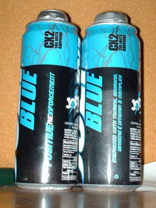 Jolt Energy: JOLT Blue (left) JOLT Blue energy drink (right)