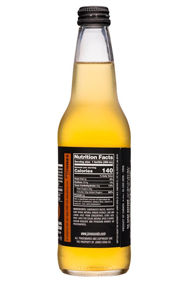 Jones Pure Cane Soda: Jones-12oz-CaneSugarSoda-GingerBeer-Facts
