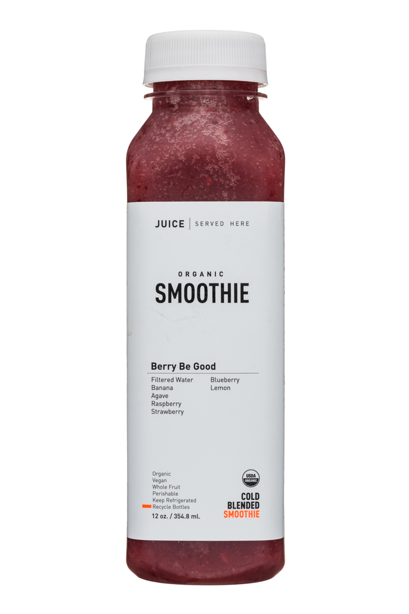 Juice Served Here Organic Smoothie: JuiceServedHere-12oz-Smoothie-BerryBeGood-Front